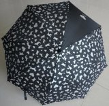 lluvia negra de 23inch Sun que hace publicidad del paraguas recto de la promoción con la impresión