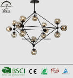 Lámpara moderna de cristal ambarina del metal LED del negro de la bola