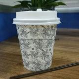Desechables de papel café caliente taza con tapa