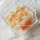 Nuevo rectángulo de acrílico claro de la flor para 9, 16, 25, 36 rosas verdaderas