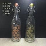 preço de fábrica 1000ml de água vidro impresso Garrafa de óleo com o topo do Giro