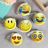 Мешок случая монетки кабеля наушника металла выражения Emoji милый