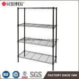 Durable Multi-Functional 4 Shelves Black Epoxy Coated Metal Storage Wire Rack