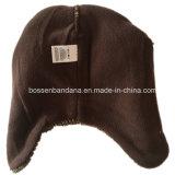 Fabrik Soem-Erzeugnis-scherzt kundenspezifisches Stickerei-Grau Earflap polares Vlies gestrickten Beanie-Hut