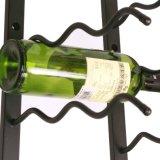 Crémaillère fixée au mur s'arrêtante noire de vin de support de mur en métal