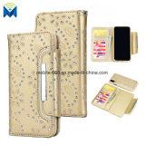 Роскошная крышка случая бумажника гнезда для платы случая мобильного телефона кожи диаманта Bling для iPhone x и Samsung
