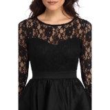 Черный кружевом длинной втулки Высокая Низкая Satin вечерние платья платье Ппзу Openboot