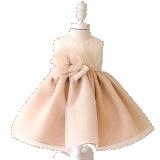 Champagne-Organza-Mädchen-Kleid-Brautkleid