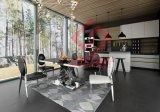 Современные прямоугольник в форме сердца закаленное стекло сверху и обеденный стол из нержавеющей стали