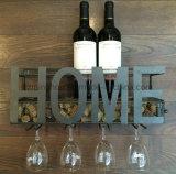 Cremalheira fixada na parede decorativa do vinho do metal com o suporte longo do vidro da haste 4
