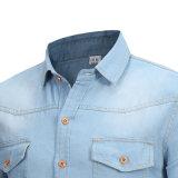 Camicia dei jeans degli uomini blu del manicotto del denim dei jeans di autunno lungo della camicia