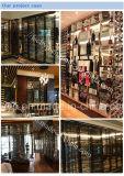 Estante de Dipslay del vino del acero inoxidable del oro de Rose del espejo para el hotel
