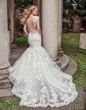 2018 alineadas de boda nupciales de la sirena del cordón de la funda del casquillo de los vestidos de noche Z2081