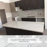 Pedra artificial de quartzo branca Calacatta pedra para bancadas de cozinha
