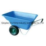 Carriola di plastica del cassetto dello strumento di giardino della rotella doppia (WB5405)