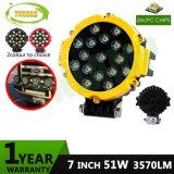 Amarelo 51W 7 polegadas da lâmpada da luz de LED de exterior para passeios de jipe