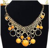 La joyería de moda de verano de aleación de zinc chapado cadena ajustable con muebles antiguos de bronce cobre colgante de perlas de resina acrílica (PN-065)