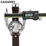 Двойной wristwatch движения для людей с планкой серебряного случая толкателей кожаный