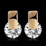 Belas Jóias Brincos Zircon Platinum Design redondo para Mulheres