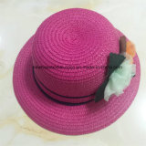100% соломенной шляпе, Мода Стиль с цветами Украшение для детей