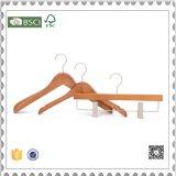 Gancho de madeira do terno do gancho de madeira luxuoso das calças para o indicador da loja da roupa