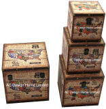 S/4 Doos van de Boomstam van de Opslag van de Druk Pu Leather/MDF van het Ontwerp van de Koffie van de Decoratie de Antieke Uitstekende Vierkante Houten