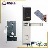 Fechamento de porta esperto eletrônico do cartão do hotel da segurança da alta qualidade de Orbita com o punho do aço inoxidável