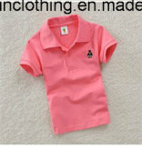 ロゴの不足分の袖の子供のポロのTシャツとの純粋なカラー