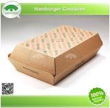 2015happypack Kraft Paper Hamburger Container con Custom Design