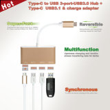 Varón del USB USB-C al eje para el acceso 3*USB 3.0 con un USB 3.1 y el cargador