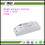 Facteur de puissance élevée 18W 12V 24V Convertisseur de LED à tension constante, alimentation, alimentation LED