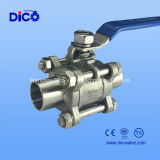 Stainless sanitario Steel 3PC Ball Valve con Butt Weld Estremità