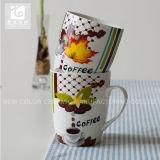 Mok van de Melk van het Porselein van Liling de Witte/de Mok van de Koffie van de Druk van het Overdrukplaatje /14oz 12oz 10oz