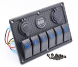 6 pista à prova de aluguer de barco automático LED Marinho disjuntores do painel do interruptor oscilante Carro Switch Dash 12V interruptor de Metal