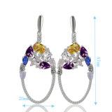Moderno Senhoras jóias de prata 925 coloridos CZ gota ficarão penduradas brinco brincos candelabro de Diamante
