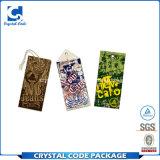 Etiqueta de papel grabada respetuosa del medio ambiente de la ropa con la cadena