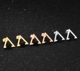 Acero Inoxidable 316L Aretes triángulo hueco cuadrado negro Stud Earrings para las mujeres estilo de moda las niñas Joyería