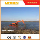 Excavatrice amphibie de Doosan avec le ponton de train d'atterrissage et le réservoir d'eau