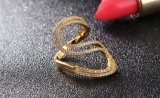 Los anillos de la fábrica de San Valentín para las mujeres presentes dos filas de la moda a mediados de color dorado cristal cúbico Anillo de Boda Ziconia joyas anillo libre de la alergia