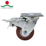 Rotação da Roda de PU com travão Total Rodízio de Serviço Pesado