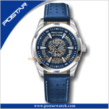 Bracelet en cuir motif crocodile Skeleton Hommes montre-bracelet automatique