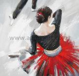 Rote nordische Kunst der Fußleisten-Tanzen-Dame-Ölgemälde für Wand-Dekor