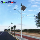 Viento de doble brazo híbrido solar luz LED en la calle la luz solar