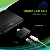 2 in 1 doppeltem Jack-Audioadapter für iPhone X Plusblitz-Audiokopfhörerjack-Kabel der aluminiumlegierung-7 8 schnelles aufladen