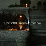 Antike hellbernsteinfarbige LED im Freien drahtlose angeschaltene Fühler-Solarsolarsolarsolarlampe des Rattan-Laterne-Tisch-Licht-LED