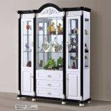 Gabinete de armazenamento de vidro de madeira moderno do indicador do vinho