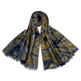 Caxemira reversível acrílica das mulheres como o lenço tecido densamente feito malha morno do xaile do inverno da impressão (SP268)