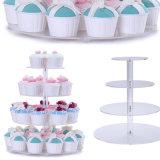 4 Camadas de bolo de acrílico transparente significa titular de bolo de formato quadrado