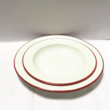 Plaque rouge/bleue/noire de vaisselle d'émail de RIM d'émail de dîner, plaque campante, plaque de pizza