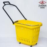Panier à provisions se pliant portatif de matériel de supermarché avec des roues